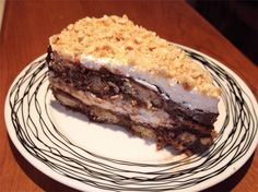 Lovely dessert with wafer and hazelnut praline! Greek Sweets, Greek Desserts, Party Desserts, Greek Recipes, Sweets Recipes, Cooking Recipes, Greek Pastries, Armenian Recipes, Icebox Cake