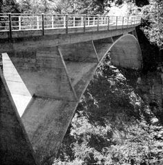 Maillart, Schwanbachbruecke, 1933 - the stiffened arch led to almost eggshell- thin members