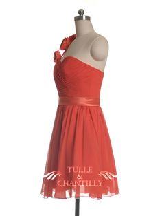 Cute Floral One-shoulder Knee Length Bright Orange Bridesmaid Dress