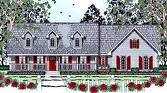 Country House Plan with 1299 Square Feet and 3 Bedrooms from Dream Home Source | House Plan Code DHSW73249