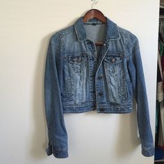 American Eagle Crop Jean Jacket Rustic cropped jean jacket. Perfectly paired with summer dresses. American Eagle Outfitters Jackets & Coats Jean Jackets