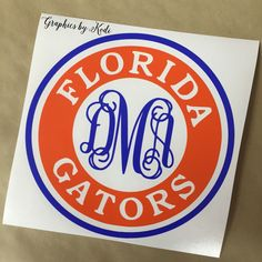 Florida Gator Monogram Decal - Vinyl Sticker by GRAPHICSBYKODI on Etsy https://www.etsy.com/listing/259966423/florida-gator-monogram-decal-vinyl