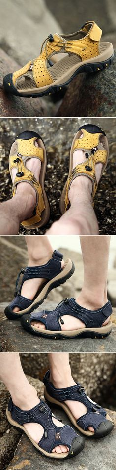 Outdoor Beach Sandals, Leather Anti-collision Toe shoes for men