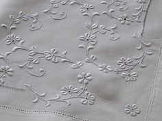 Em's Heart Antique Linens -Antique Linen Embroidered Layover Shams