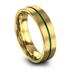 Yellow Gold Emerald Zing Men & Women Wedding Rings with the exclusive designs and timeless in elegance. With the premium quality of the wedding band. Emerald Wedding Rings, Wedding Rings For Women, Rings For Men, Tungsten Wedding Bands, Wedding Ring Bands, Thin Green Line, Personalized Rings, Ring Designs, Engagement Rings