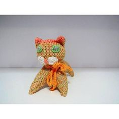 Stuffed hand knitted animal cat toy for toddler Animals
