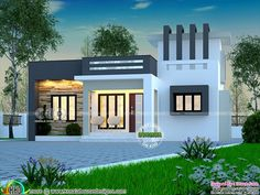 999 square feet, 3 bedroom contemporary style single floor house plan by Dream Form from Kerala. Single Floor House Design, Modern Small House Design, Bungalow Haus Design, Duplex House Design, House Outside Design, House Front Design, Independent House, Flat Roof House, Facade House