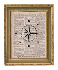 Nautical decor - printed page from nautical novel with print of compass rose on top