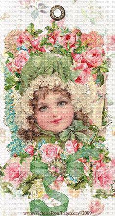 Exclusive & Original Hang Tags Pink Roses Vintage Darlings .  Maud Humphrey