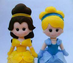 Princesas Bela e Cinderela em feltro