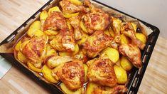 Zapečené kuřátko s bramborami a omáčkou na jednom plechu