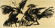 """Cock Fight"", 1964, Jean Jones, American, woodcut on paper, 9 x 13 3/4 in. Chancellor's Fine Arts Purchase Award, 1964 Transferred to Elliott University Center, UNCG. 1964.1316D"