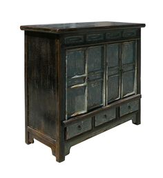 Chinese Gray Blue Elm Wood High Credenza Cabinet | Chairish