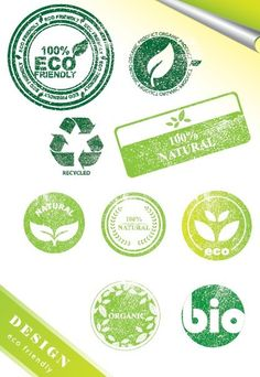 Vintage ECO Friendly Green Label Stickers