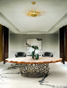 custom made wooden and metalic round big dining table