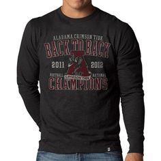Alabama Crimson Tide NCAA '47 Brand Charcoal Back-to-Back 2012  BCS Football National Champions Long Sleeve Scrum T-Shirt