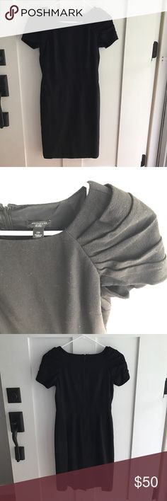 Ann Taylor 2 petite black dress Super slimming and beautiful black dress with pleated sleeves. Zip up the back. Worn less than 5 times. Any questions just ask! Ann Taylor Dresses