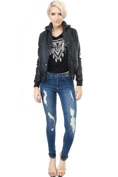 Distressed Wash Skinny Jeans - WOMEN - Foreign Exchange