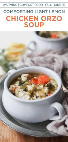 Light Lemon Chicken Orzo Soup - the perfect comfort soup that's full or vegetables, protein, and a fresh lemony broth that you'll swoon over! This soup is pure bliss on cold winter day! High Protein Vegetarian Recipes, Healthy Low Carb Recipes, Vegetarian Soup, Healthy Dinner Recipes, Appetizer Recipes, Breakfast Recipes, Healthy Eats, Chili Recipes, Soup Recipes
