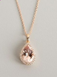 Rose gold necklace with pear-shaped morganite and white topaz halo by Armadani
