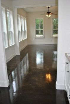 Home Remodeling Floors DIY stained concrete basement floors. Wonder if this will be good over old asbestos tile. Diy Concrete Stain, Concrete Basement Floors, Plywood Floors, Concrete Countertops, Laminate Flooring, Plywood Furniture, Cement Floors, Diy Flooring, Flooring Ideas