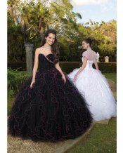 Black Ball Gown Strapless and Sweetheart Bandage Floor Length Quinceanera Dresses With Sequined and Ruffles