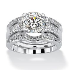 2.95 TCW Round Cubic Zirconia Platinum over Sterling Silver 3-Piece Bridal Engagement Ring Set at PalmBeach Jewelry