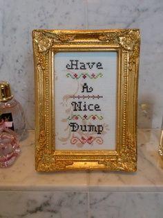 Bathroom humor cross stitch