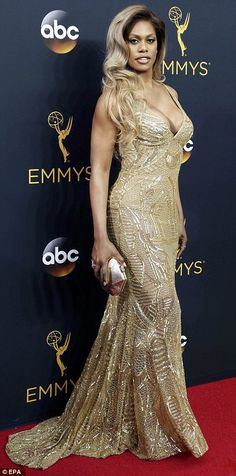 Channelling old Hollywood glamour: Laverne Cox was dazzling in her slinky and…