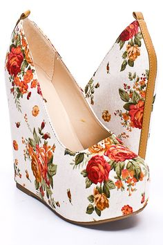 Floral wedges...normally I don't like platformed shoes because they feel too heavy on my feet, but these are cute. :)