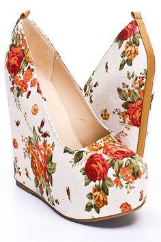 NATURAL ROSE FLORAL CANVAS HIDDEN PLATFORM WEDGES-super cute for spring and summer!