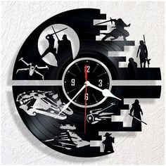 Vinyl wall clock DEATH STAR. Great gift for a fan of DEATH STAR. The size of the clock is 12 (30cm). It has a strong hanger on the back of clock. The item comes in a white cardboard protected box that can be gift-wraped. I use in all my clocks high quality movement mechanism that operates very silent. Battery AA included. In case your item arrives damaged I will replace your clock with the new one or I will offer a full refund (please provide photos of the damages). If you have any questions…