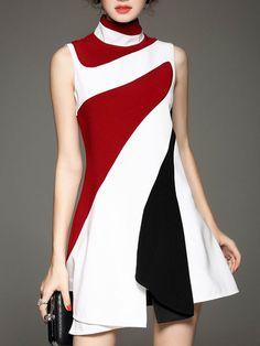 Color-block Cotton-blend Mini Dress