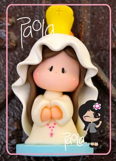 Virgen de Fatima - Mother of God - Madonna Party favor Cold Porcelain Polymer Clay Animals, Polymer Clay Dolls, Polymer Clay Projects, Diy Clay, Clay Crafts, Fondant Figures, Clay Figures, First Communion Cakes, Jumping Clay