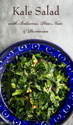 Raw Kale Salad with Balsamic, Pine Nuts, and Parmesan ~ Raw kale salad with Tuscan kale, toasted pine nuts, balsamic, and grated Parmesan. ~ SimplyRecipes.com