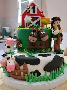 Farm Birthday Cakes, Baby Boy Birthday Cake, Boys 1st Birthday Party Ideas, Baby Boy Cakes, Cowboy First Birthday, Farm Animal Birthday, Farm Cake, Farm Party, Creations