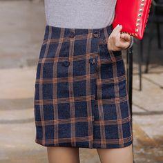 Vintage de A línea Botón mujeres imperio Invierno lana falda faldas A de faldas de una lana de Comprar cuadros las falda 13 74 cuadros PgxHtt