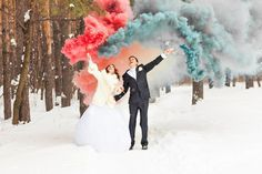 Another idea for the couple that likes to make a statement -- colored smoke. These smoke bomb sticks will billow smoke in your chosen colors, which will stand out amazingly against fresh snow (and traditional wedding wear). The cool photographs alone make it worth trying!
