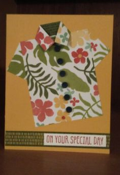 Stampin' Up! Easy Hawaiian shirt card, Botanical Gardens DSP & washi tape