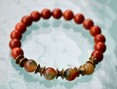 Red Jasper Jade Handmade Yoga Wrist Mala Beads Healing Bracelet -For Insomnia Bad Dreams Protection Empowerment Lungs Kidney Problem Anxiety