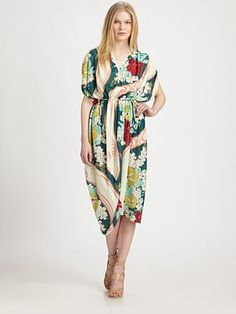 Suno - Drapey Printed V-Neck Dress - Saks.com