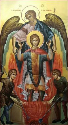Icon showing Angel saving [the prophet Daniel] Belteshazzar? from the fiery furnace. Based on a similar story from Dn Byzantine Art, Byzantine Icons, Religious Icons, Religious Art, Paint Icon, Religious Paintings, Best Icons, Medical Illustration, Believe In God
