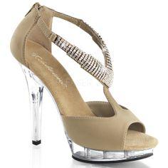 "Pleaser 5/"" tan suede rhinestone peep toe sandals"
