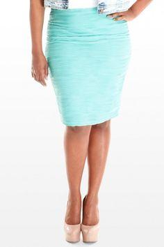 Techno Wave Textured Pencil Skirt #PlusSizeFashion #PlusSizeClothing #Spring