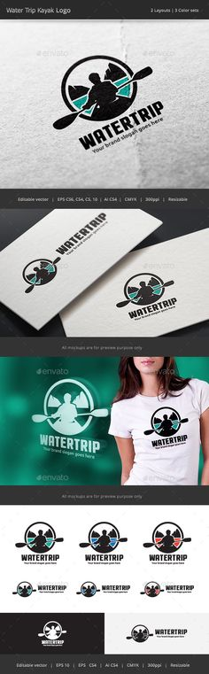 Water Trip Kayak Logo — Vector EPS #badge #brand • Available here → https://graphicriver.net/item/water-trip-kayak-logo/17929771?ref=pxcr
