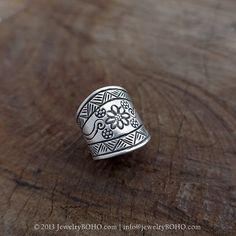 BOHO 925 Silver Ring-Gypsy Hippie Ring,Bohemian style,Statement Ring R067 JewelryBOHO,Handmade sterling silver BOHO Tribal printed ring