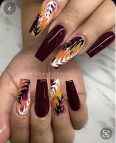 fall leaf nail art designs to let your hug autumn 7 ~ Modern House Design - Nail designs, Fall Nail Art Designs, Acrylic Nail Designs, Dope Nails, My Nails, Fall Acrylic Nails, Fall Nails, Fall Nail Art Autumn, Thanksgiving Nails, Fall Nail Colors