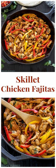Skillet Chicken Fajitas | Quick, easy, gluten free, & paleo skillet chicken fajitas are perfect for busy nights!