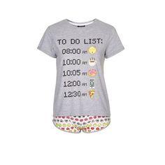 TopShop Emoticons to Do List Pj Set ($32) ❤ liked on Polyvore featuring intimates, sleepwear, pajamas, grey, cotton pajamas, topshop, cotton pajama set, cotton pyjamas and cotton pjs