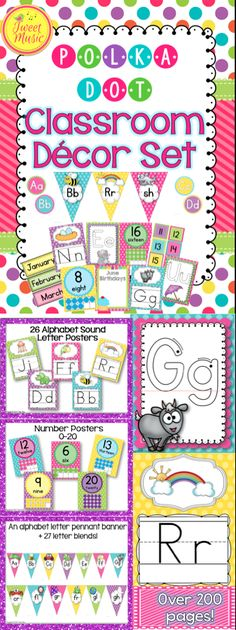 Looking to brighten up your room? This coordinated set of polka dot posters, labels, calendar cards, number sets and more will add some cheerful color and style to your classroom this year! This set is more than 200 pages. $